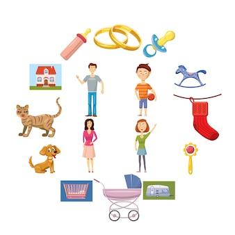 Família, jogo, ícones