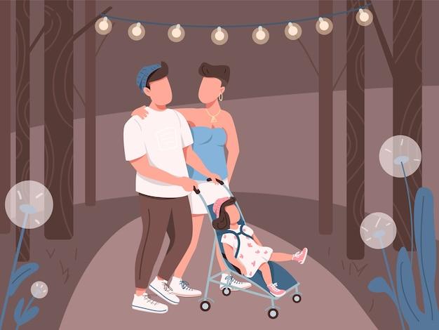 Família jovem caminhando na ilustração colorida do parque noturno