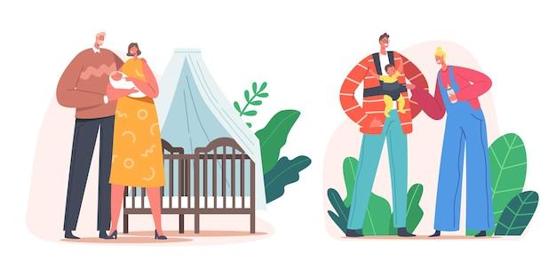 Família jovem com bebê no quarto. mãe e pai personagens cuidam de criança recém-nascida, segurando nas mãos, usam hipseat e alimentação. paternidade, amor de mamãe e papai. ilustração em vetor desenho animado