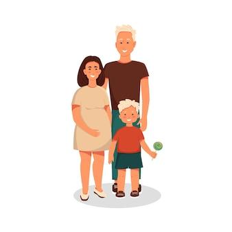 Família jovem com filho pequeno, mulher grávida com bebê e marido personagens de vetor