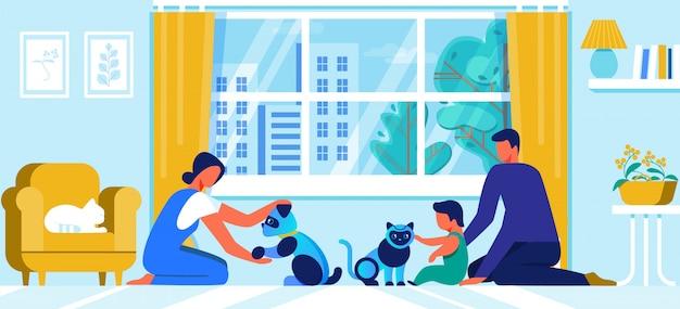 Família jovem com pequeno bebê brincar com animais de estimação de robô
