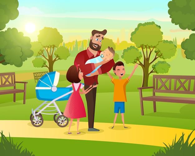Família jovem em pé no parque com ar fresco de criança