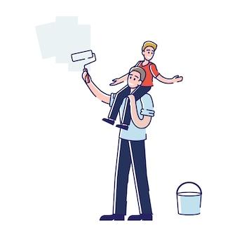 Família jovem faz reparos em casa
