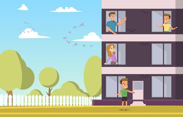 Família jovem feliz escolhendo o apartamento para compra