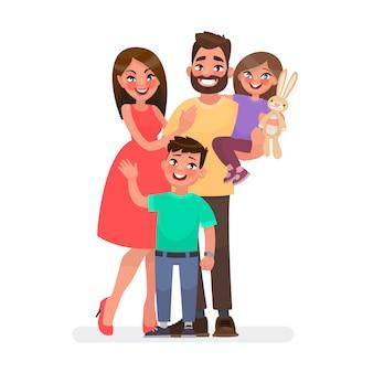 Família jovem feliz. pai, mãe, filho e filha juntos.