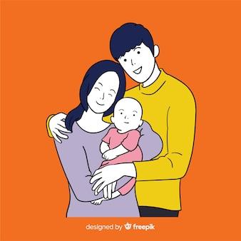 Família jovem no estilo de desenho coreano