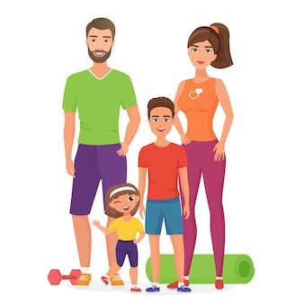 Família jovem saudável esporte estilo de vida com filhos bonitos. pai, mãe, filho e filha envolvidos na atividade física.