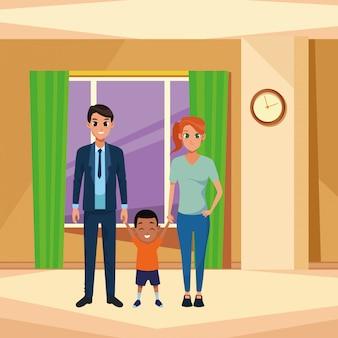 Família jovens pais com criança