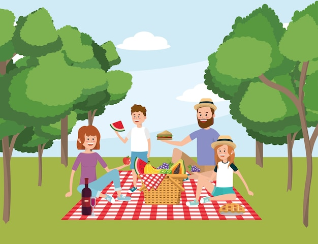 Família, junto, cesta, piquenique, e, árvores