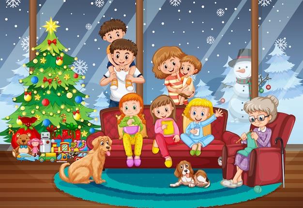 Família, junto, ligado, natal, cena