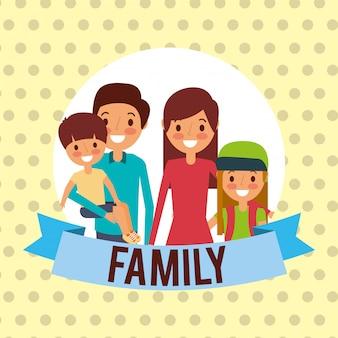 Família juntos personagens