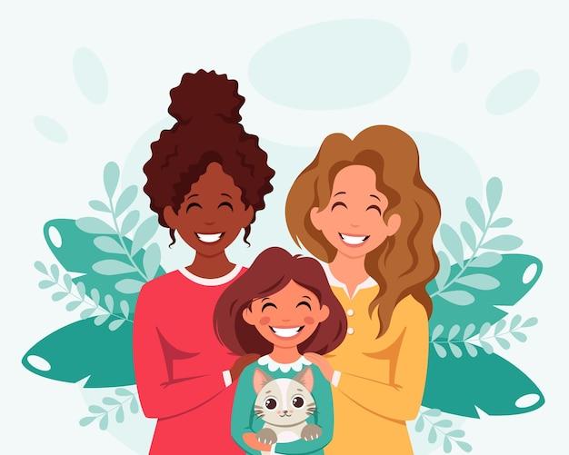 Família lésbica com filha e família lgbt de gato