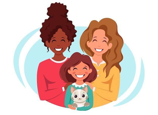 Família lésbica com filha e gato casal multicultural