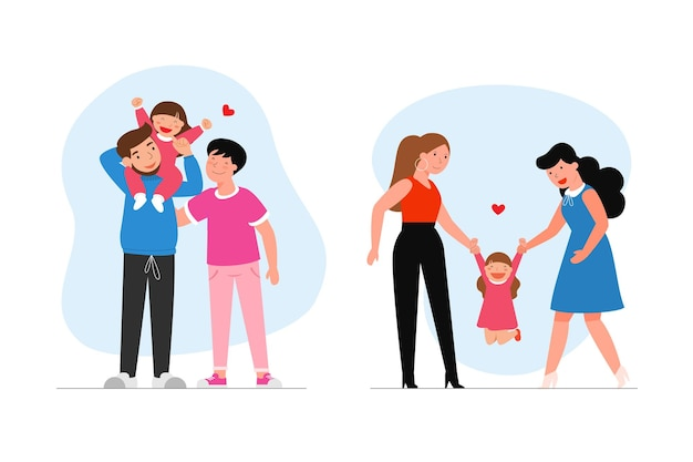 Família lésbica feliz com criança. Vetor grátis