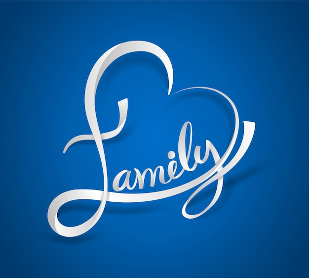 Família, lettering, coração, dado forma