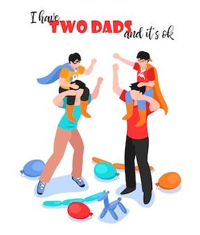 Família lgbt com dois pais e meninos se divertindo 3d isométrico