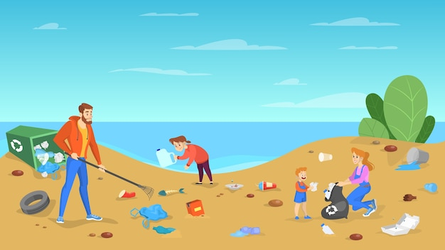Família limpa a praia. pessoas guardam o lixo