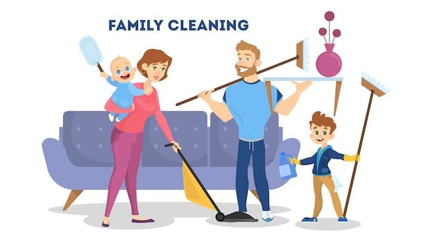 Família limpando a casa juntos. mãe, pai e filhos fazem o trabalho doméstico e se ajudam. ilustração