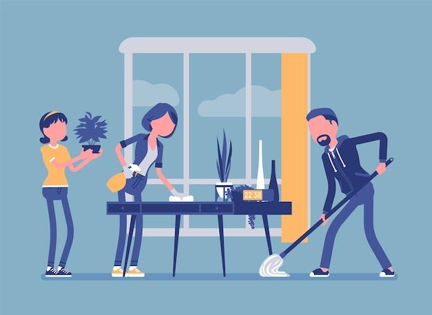 Família limpando a casa