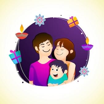 Família linda comemorando o festival diwali.