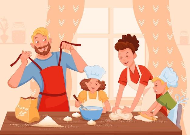 Família, mãe, pai, filha e filho cozinham bolos juntos em uma grande mesa plana