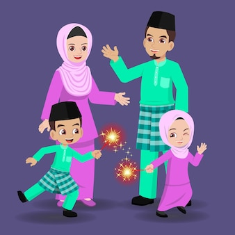 Família malaia comemorando hari raya aidilfitri junta