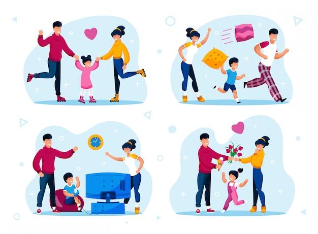 Família moderna vida feliz cenas plana conjunto