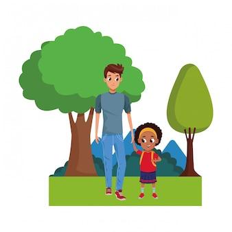 Família monoparental com desenhos animados de crianças