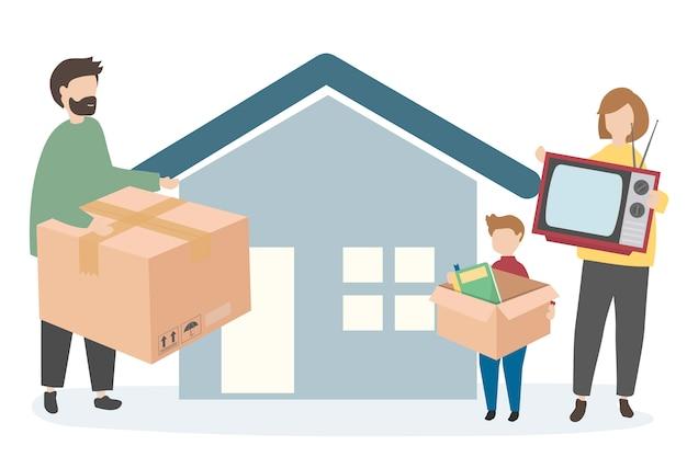 Família, movendo-se para uma nova casa