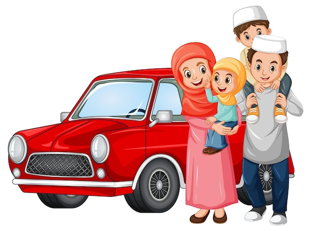 Família muçulmana ao lado do carro