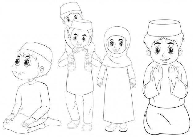 Família muçulmana árabe em roupas tradicionais em contorno