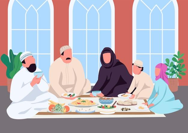Família muçulmana comendo juntos ilustração colorida plana