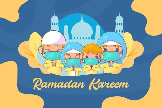 Família muçulmana cumprimentando o ramadã kareem islâmico com máscara