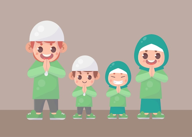 Família muçulmana cumprimentando ramadan kareem eid al fitr islâmico