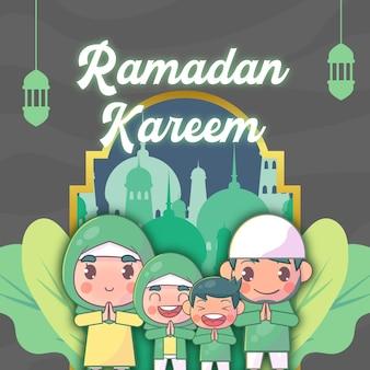 Família muçulmana cumprimentando ramadan kareem islâmico