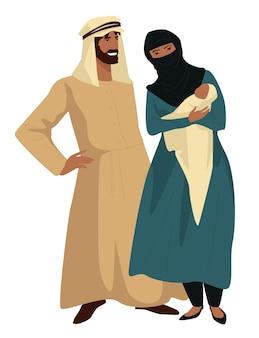 Família muçulmana de mãe e pai com filho