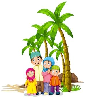 Família muçulmana debaixo da árvore