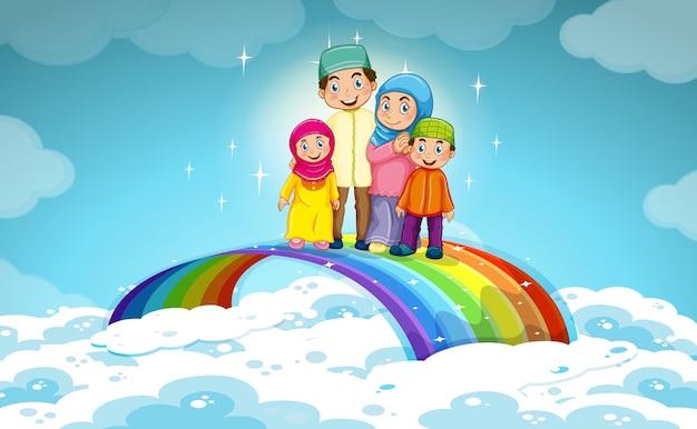 Família muçulmana em pé no arco-íris