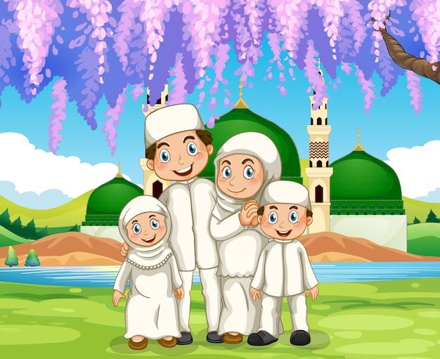 Família muçulmana em pé no parque
