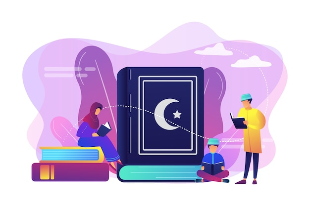 Família muçulmana em roupas tradicionais lendo o livro sagrado do alcorão, pessoas minúsculas. cinco pilares do islã, calendário islâmico, conceito de cultura islâmica.