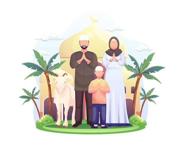 Família muçulmana feliz comemora ilustração de eid al adha mubarak