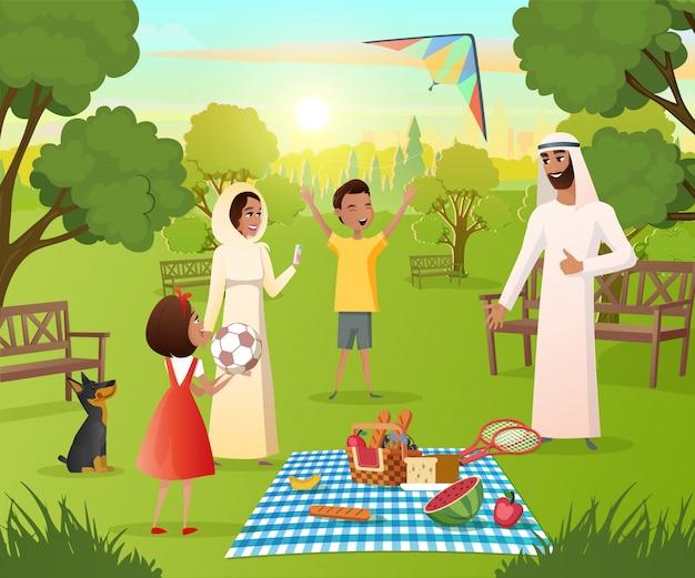 Família muçulmana feliz no piquenique no vetor de parque da cidade