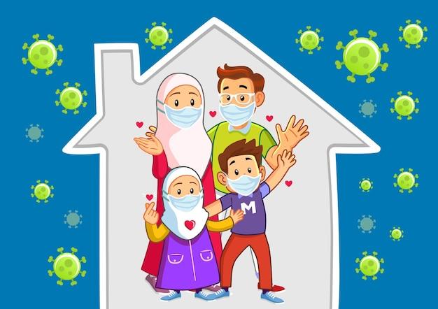 Família muçulmana feliz protestando para ficar em casa