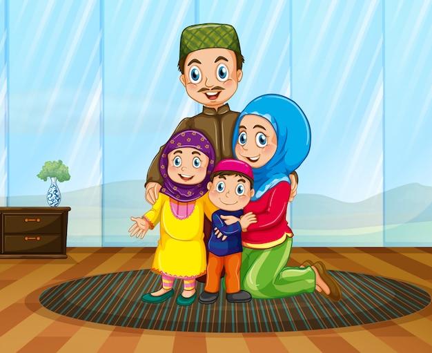 Família muçulmana na casa