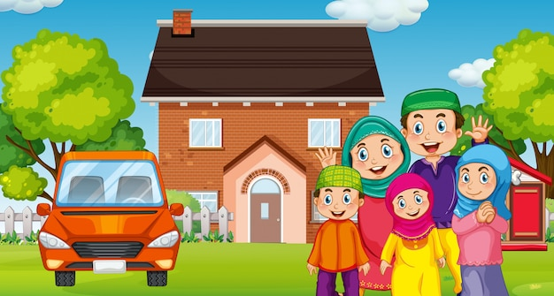 Família muçulmana na frente da casa
