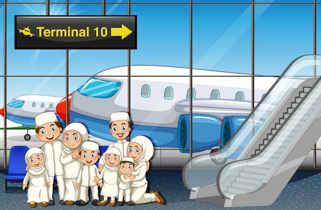 Família muçulmana no aeroporto