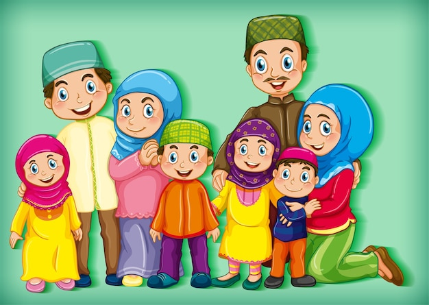 Família muçulmana no verde