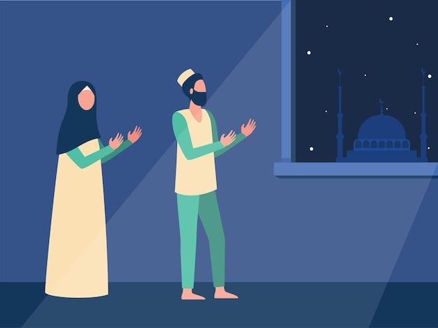Família muçulmana orando à noite junta