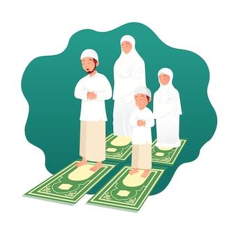 Família muçulmana rezando juntos. ilustração do conceito do ramadã