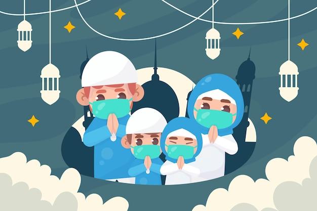 Família muçulmana usa máscara para saudar ramadan kareem eid al fitr islâmico